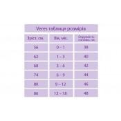 Таблица размеров одежды ВЕРЕС