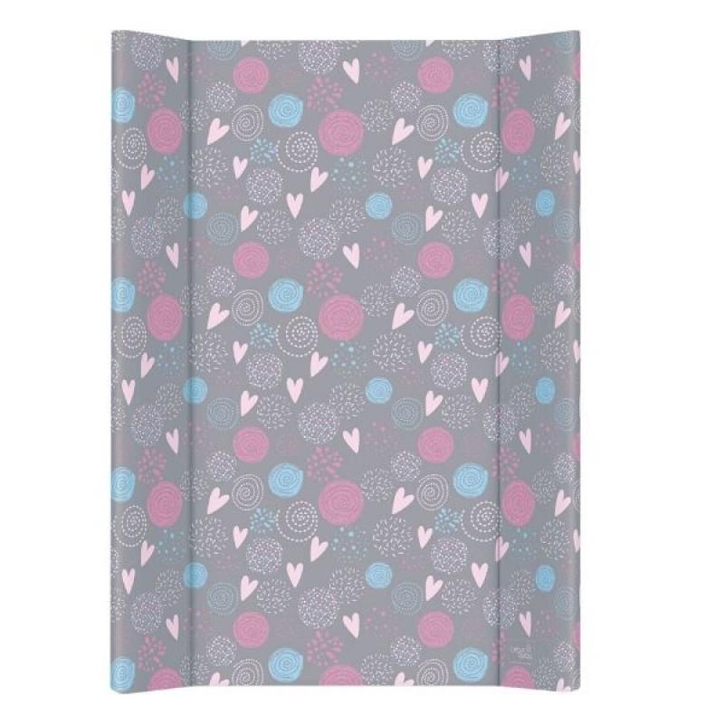 Пеленальная доска Ceba Baby 50*70 Lolly Polly (Love, серый/розовый)