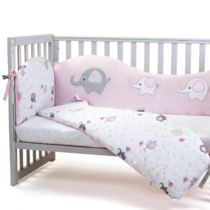 """Сменный постельный комплект Верес """"""""Elephant family pink"""" (3ед.)"""