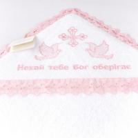 Крыжма ТМ Sasha (белый с розовым кружевом)