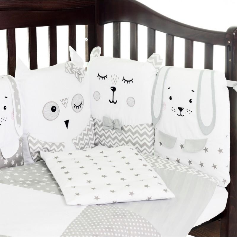"""Сменный постельный комплект Верес """"Smiling Animals white-grey"""" (3ед.)"""